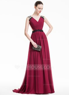 [R$ 498.24] Vestidos princesa/ Formato A Decote V Sweep/Brush trem De chiffon Vestido de festa com Pregueado Renda Bordado (017074933)