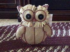 Burlap and Metal Burgundy, Tan Owl decoration for interior harvest decor #Unbranded