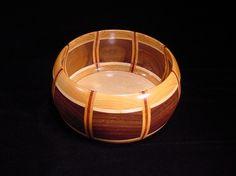Segmented ornamental bowl walnut, maple, mahogany & cherry wood