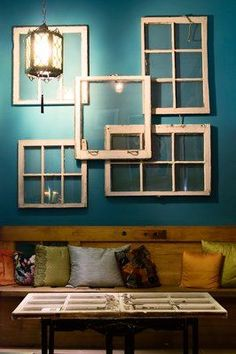 Recycled windows as art. I have done this in my house already, but I would do it some more in another room if I find some more old windows! Recycled Windows, Old Windows, Windows And Doors, Vintage Windows, Antique Windows, Reclaimed Windows, Store Windows, Sweet Home, Diy Casa