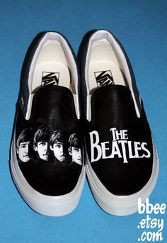This listing is for a pair of black and white Beatles shoes. On the front of the right shoe I painted a portrait of the face of each of the Beatles. Beatles Shoes, Beatles Love, Les Beatles, Beatles Poster, Ringo Starr, Paul Mccartney, George Harrison, John Lennon, Alice In Chains