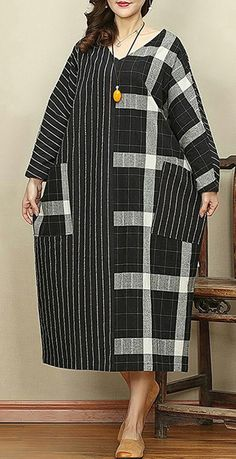2018 black Plaid casual v neck patchwork linen dresses vintage pockets large hem autumn dressMost of our dresses are made of cotton linen fabric, soft and breathy. loose dresses to make you comfortable all the time. Plus Size Peplum, Stylish Sarees, Casual, Patchwork Dress, Linen Dresses, Black Plaid, Boho Fashion, Fashion Dresses, African Fashion