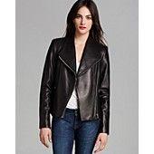 Calvin Klein Asymmetric Zip Leather Jacket