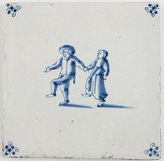 Baldosa antigua de Delft en azul. 1690. Países Bajos. Antique Delft tile in blue depicting two dancers, 17th century