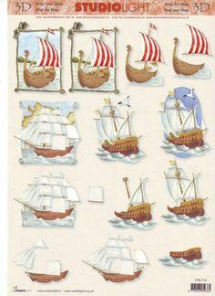 bateaux 3d Man, 3d Sheets, 3d Craft, 3d Prints, Tile Art, Masculine Cards, Printable Art, Cardmaking, 3 D