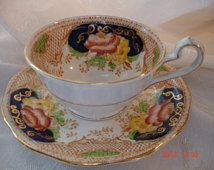 Vintage Bell China England Tea Cup & Saucer Mint condition Imari colors
