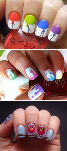 Balloons, drips and Owls! The balloons are awesome! I love the french manicure look!!!