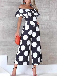 Flounce Trim Off Shoulder Dots Print Jumpsuit - Hosen Fashion Outfits, Womens Fashion, Fashion Tips, Fashion Design, Fashion Trends, Ladies Fashion, Moda Outfits, Casual Jumpsuit, Striped Jumpsuit
