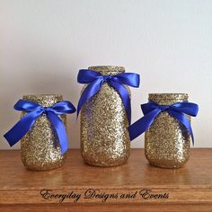 3 Jars, Blue and gold mason jar set, Centerpiece set, Blue and Gold ce – EverydayDesignsAndEvents Gold Mason Jars, Mason Jar Centerpieces, Baby Shower Centerpieces, Centerpiece Wedding, Prince Birthday Party, Prince Party Favors, Jesus Birthday, Baby Shower Themes, Baby Boy Shower
