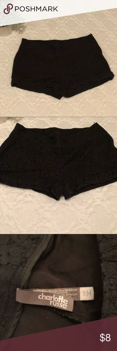 Black Lace Shorts These shorts are a great choice whether you're dressing up or if you're going for a casual look! They are gently worn, but have never been put in the dryer. Bundle with other items in my closet and save on the flat shipping fee 💞 Charlotte Russe Shorts