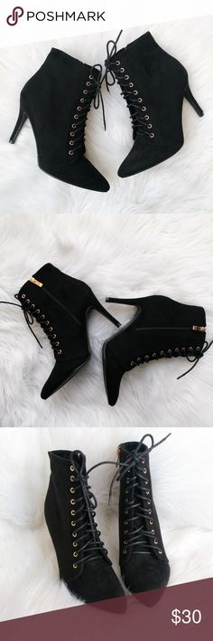 New Bella Marie Lace-up pointed toe bootie Black lace up bootie. Condition: new, no box Size: 8.5  Heel high 4.5'' Shaft 4'' Bella Marie Shoes Ankle Boots & Booties