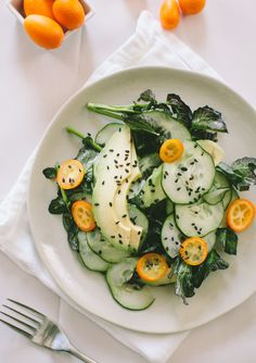 Cucumber, Avocado and Kumquats make up this delicious sounding (and beautiful) salad from A Thought For Food