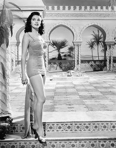 "#Yvonne_de_Carlo  #beauty #style, publicity portrait for ""Hotel Sahara"", 1951."