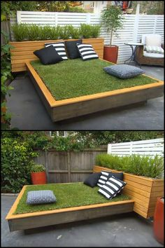 There's nothing more soothing than relaxing with the sounds and smells of nature. If you live in a home with a concrete backyard, and you've been wishing you had a garden instead where you can unwind, here's an innovative solution for you!  This daybed project is a lot easier and far more practical than digging up concrete backyard and turning it into a garden. You still get to enjoy taking a nap or reading a great book on a wonderful lawn and you get a great conversation starter thrown in!