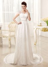 A-line V-Neck Off-The-Shoulder Buttons Ivory Wedding Dress For Bride - Milanoo.com