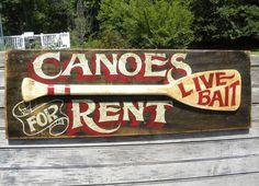 Canoe rental Sign original  wooden hand painted Fishing vintage paddle oar decor #folkart