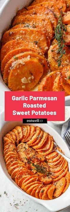 Parmesan Roasted Sweet Potatoes Garlic Parmesan Roasted Sweet Potatoes - Tender, extra-flavorful flavorful and easy to make.Garlic Parmesan Roasted Sweet Potatoes - Tender, extra-flavorful flavorful and easy to make. Side Dish Recipes, Vegetable Recipes, New Recipes, Vegetarian Recipes, Cooking Recipes, Healthy Recipes, Protein Recipes, Healthy Sweets, Dinner Recipes