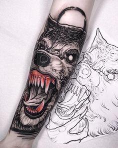 The Webby Award-winning arts magazine. Covering fine art, tattoo, graffiti, design, and cinema. Wolf Tattoo Back, Small Wolf Tattoo, Wolf Tattoo Sleeve, Sleeve Tattoos, Red Tattoos, Wolf Tattoos, Tattoo Sketches, Tattoo Drawings, Savage Tattoo