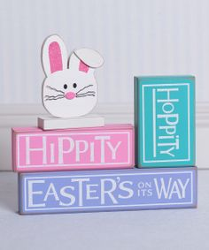 'Hippity Hoppity' Block Sign Set