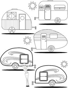 Adult Coloring Page Teardrop Trailers - Wohnwagen Camping Signs, Camping Theme, Camping Crafts, Camping Outdoors, Camping Hacks, Camping Gear, Colouring Pages, Adult Coloring Pages, Coloring Books