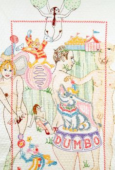 Orly Cogan hand-stitched embroidery and paint on vintage quilt, 2006.