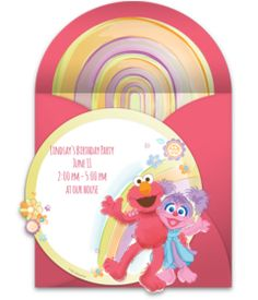 Adorable Sesame Street online invitation featuring Elmo and Abby in front of a rainbow. Free, customizable, and easy to send! Sesame Street Birthday Invitations, Elmo Birthday, Online Invitations, Punch Bowls, Little Ones, Party Supplies, Rainbow, Easy, Free