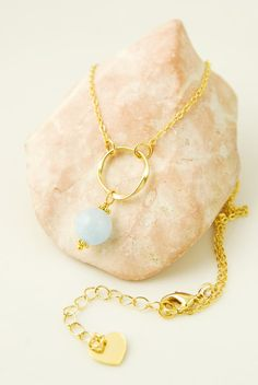 Aquamarine Necklace Delicate Gemstone Necklace Gold Circle