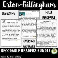 Decodable reading passages for struggling readers. Controlled text for Orton-Gillingham lessons or other reading interventions. Great fluency practice!