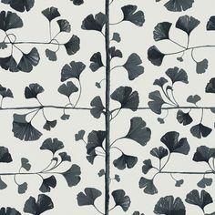 Third large image of Ginkgo Dark grey Sandberg wallpaper