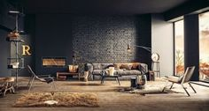 Industrial style living room design leather sofa wood flooring black brick wall