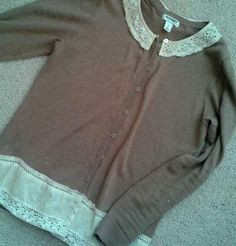 Cardi upcycle - adding scrap eyelet to collar or length
