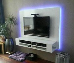 Diy entertainment center with electric fireplace. diy plan for tv cabinet, floating, with backlight, handmade by ron. Wall Tv Stand, Diy Tv Stand, Tv Wall Design, Tv Unit Design, Tv Wanddekor, Floating Tv Stand, Floating Wall, Modern Tv Wall, Tv Stand Designs