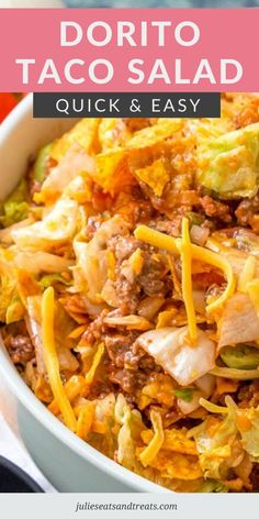 Make a Dorito Taco Salad for your next potluck, backyard party or for dinner. Loaded with flavor from the ground beef, lettuce, cheese, onions, tomatoes and Nacho Cheese Doritios and then covered with Catalina dressing. This quick and easy salad recipe is always a hit! #taco #salad