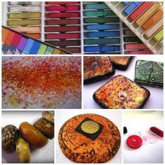 Chalk Pastel Collage-imp - one of 5 surface treatments - lots of things to try   ~ Polymer Clay Tutorials