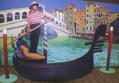 A great photo opportunity prop, this unit provides for your guests to actually sit in the gondola and be photographed. Shown here with Rialto Bridge Mural which is available at additional cost. Italy Party, Italy Culture, Photo Cutout, Italian Night, Dance Themes, Dinner Theatre, Rialto Bridge, Party Props, Party Themes