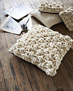 Individually hand-knitted chunky knit floor cushion Includes feather cushion pad.As I handknit each cushion to order Max cushions can be made in any colour or size on request. Please contact me via the 'Ask seller a question' button to discuss.Hand knitted on custom made giant knitting needles our Hugo knit is made in super chunky 100% wool yarn which is painstakingly hand-felted to create a truly unique statement cushion, and an ideal gift for a design conscious friend. The Hugo knit is ...