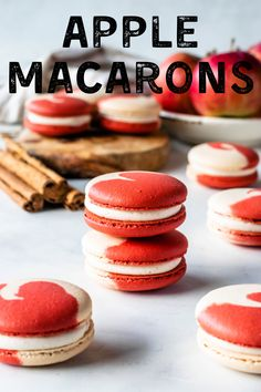 These Apple Macarons are filled with Cinnamon Cream Cheese Frosting and Apple Filling. Includes a video with detailed instructions on how to make macarons! Apple Desserts, Apple Recipes, Cookie Recipes, Delicious Desserts, Dessert Recipes, Baking Recipes, Cinnamon Desserts, Dessert Ideas, Gluten Free Cookies