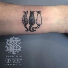 Tattoos 50 Exceptional Cat Tattoo Ideas For The Lovers Of The Furry Group Three Tiny Sitting Cats Inked On Arm Portrait Tattoo Sleeve, Cat Portrait Tattoos, Dog Tattoos, Cute Tattoos, Beautiful Tattoos, Black Tattoos, Girl Tattoos, Small Tattoos, Line Art Tattoos