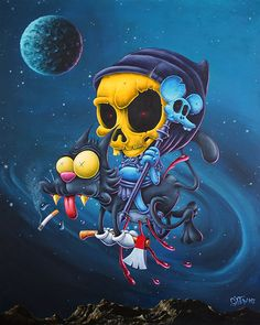 Scratch Skeletor  Cm Acrylique Sur Toile Gilen 2017