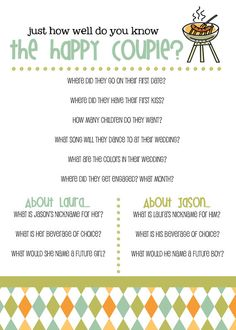 DIY Printable Couple's Wedding Shower Game by themunch on Etsy