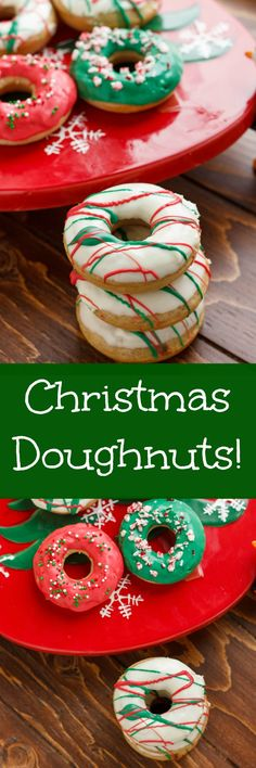 Homemade Christmas Doughnuts Topped with a Candy Melts Glaze!