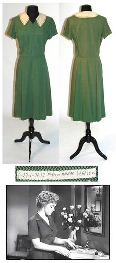 """Marilyn's costume from """"Don't Bother to Knock"""" ~ 1952. The collar was changed for another actress to wear at a later time, a common practice for studios back then."""
