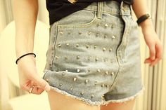 Europe and the rivet denim shorts hot pants