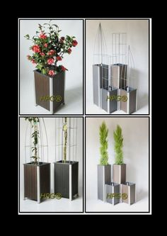 Beautiful wooden planters (columnar shape). The planters are equipped with a watering system planter. Ideal for balconies, city gardens and terraces. Plants grow and flower better, more beautiful and longer. The planter has no ground and water contact and therefore remains in excellent condition. We are the only company in Europe in this way produces planters, we make them in any implementation and in various types of wood. www.hivypillar.nl and see also www. easyplantpillar.nl