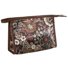 2e6903b1853 Kingsley Travel Cosmetic Bag, Brown Floral Print Square by Kingsley.  7.29