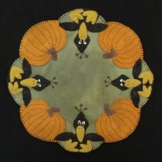 free wool patterns | Those Blasted Crows! Wool Applique Candle Mat PATTERN & E-PATTERN by ...