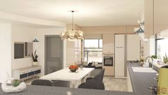 Peach kitchen. Modern sweet and comfortable kitchen design by ENLINE DESIGN.