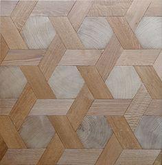 parquet using end grain hexagons
