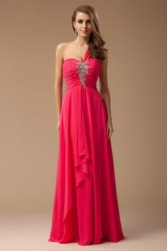 A-Line One-Shoulder Sweetheart asymmetrical evening dress made of chiffon