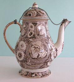 Staffordshire transferware coffee pot w /silver mounts